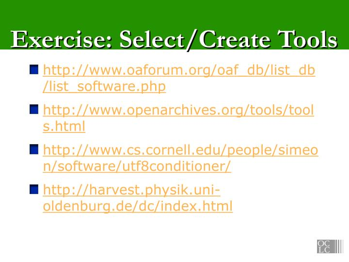 Exercise: Select/Create Tools