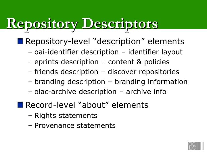 Repository Descriptors