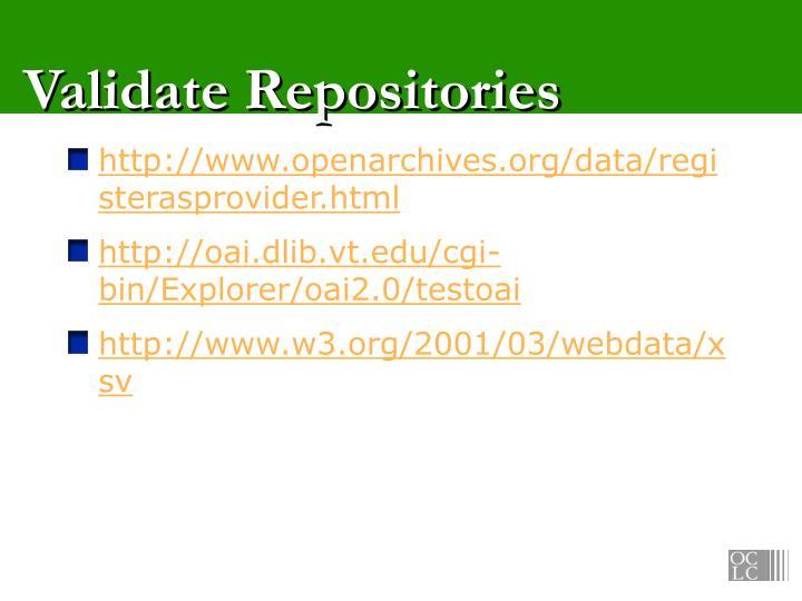 Validate Repositories