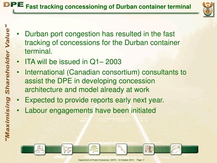 Fast tracking concessioning of Durban container terminal