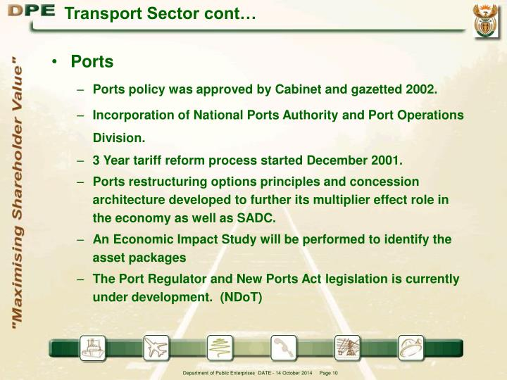 Transport Sector cont…
