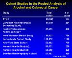 cohort studies in the pooled analysis of alcohol and colorectal cancer
