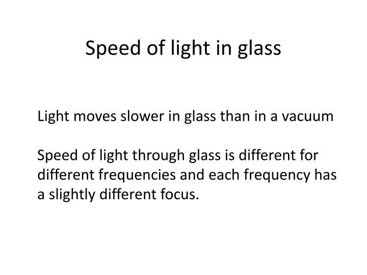 Speed of light in glass