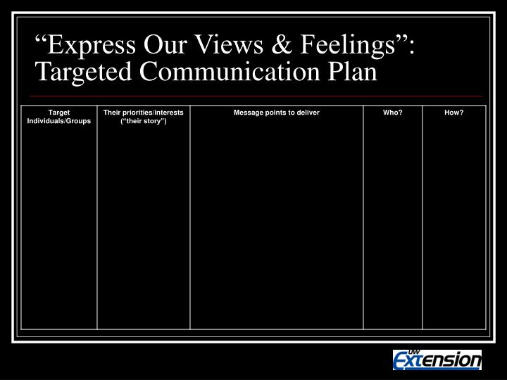 """""""Express Our Views & Feelings"""": Targeted Communication Plan"""