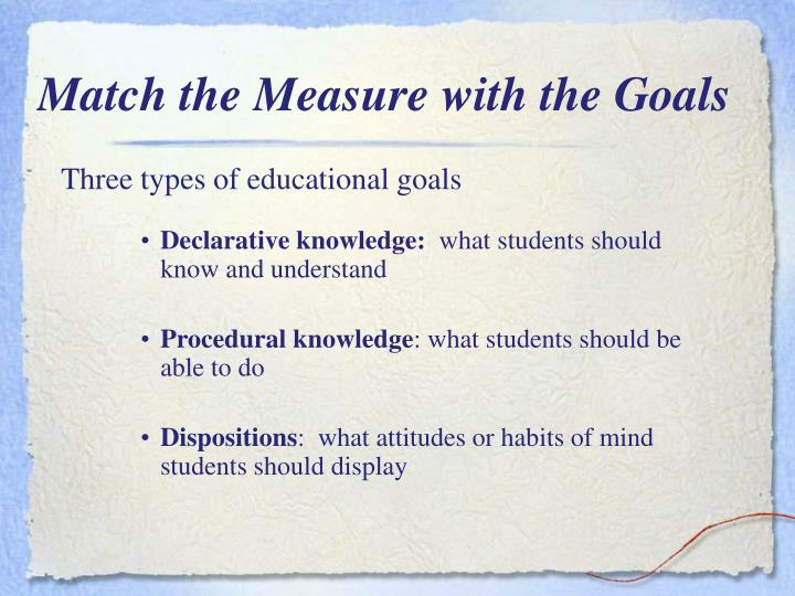 Match the Measure with the Goals