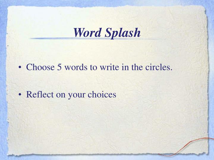 Word splash