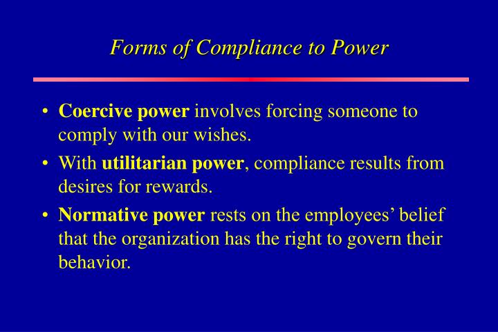 Forms of Compliance to Power