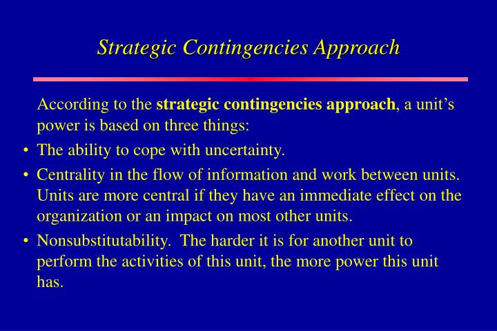 Strategic Contingencies Approach