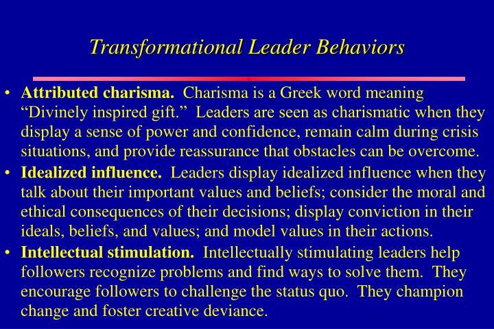 Transformational Leader Behaviors