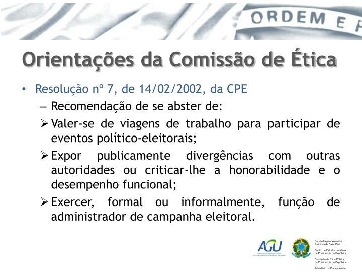 Orientações da Comissão de Ética