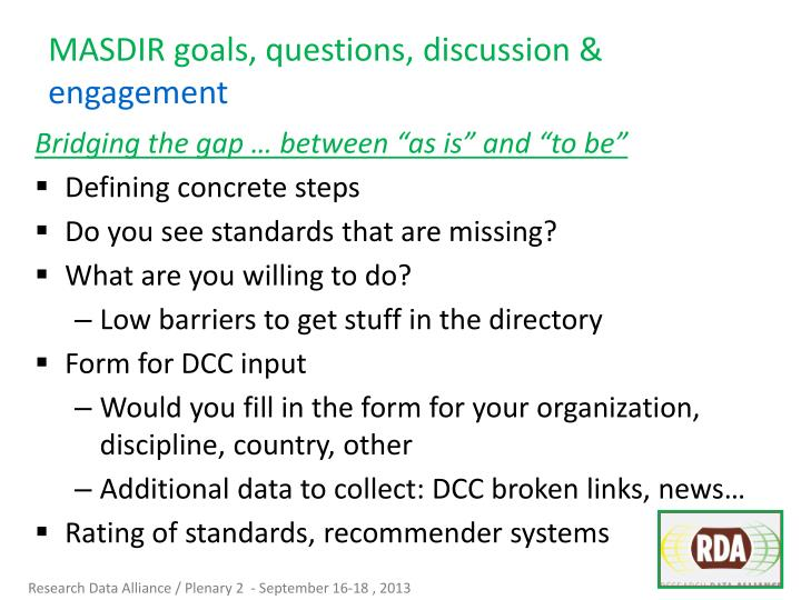 MASDIR goals, questions, discussion &