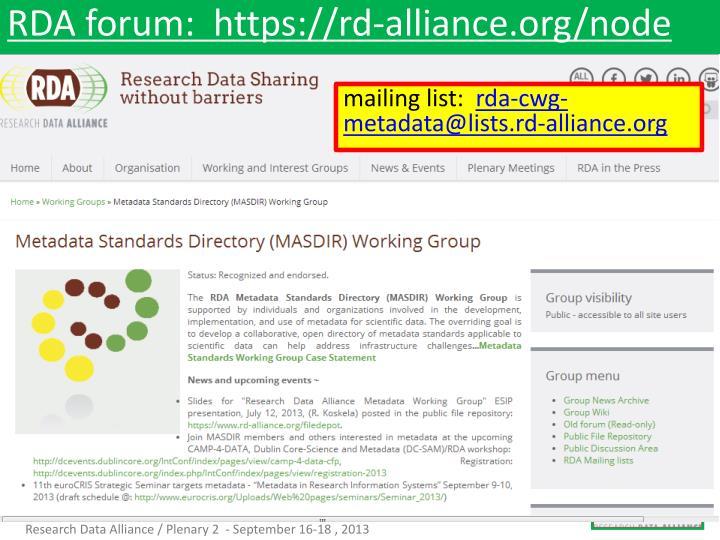 Rda forum https rd alliance org node