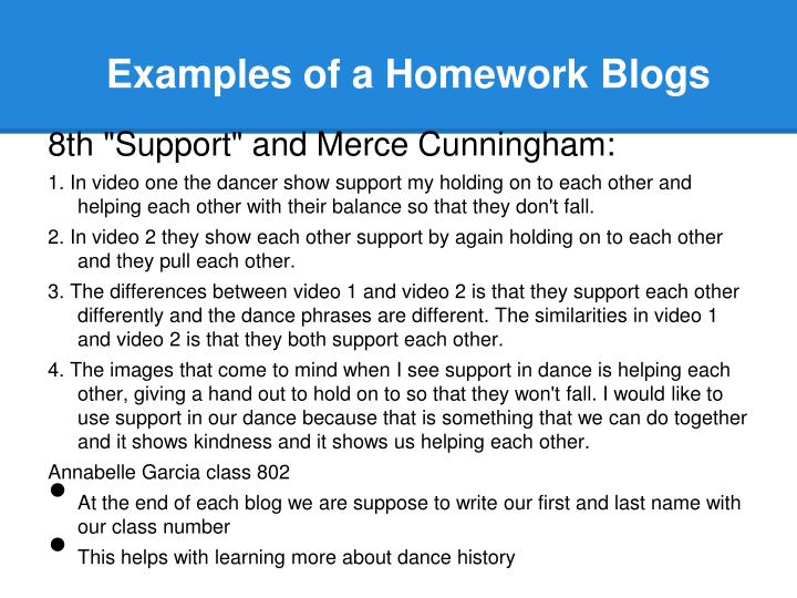 Examples of a Homework Blogs