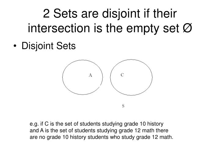 2 Sets are disjoint if their intersection is the empty set