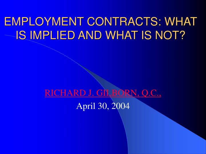 employment contracts what is implied and what is not