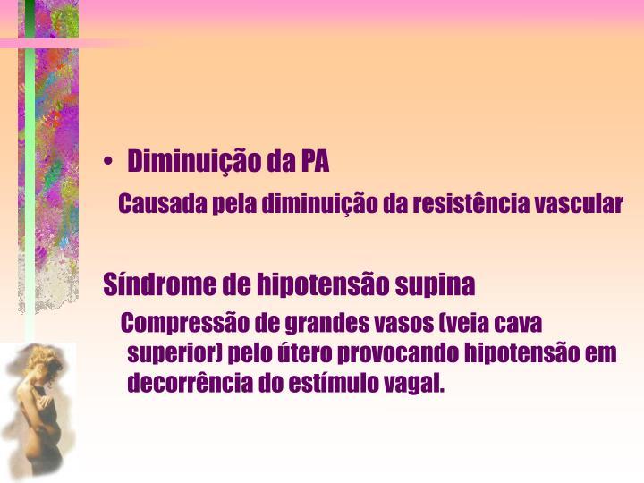 Diminuição da PA