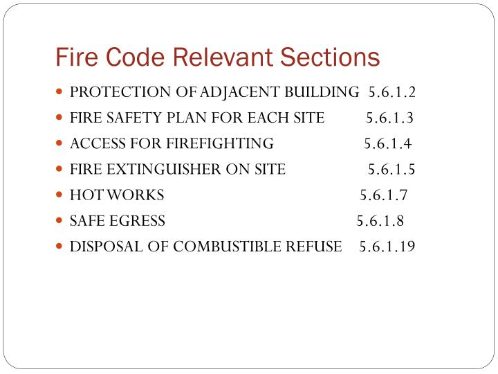 Fire code relevant sections