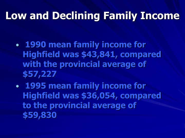 Low and Declining Family Income