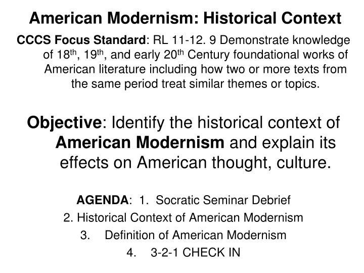 American Modernism: Historical Context