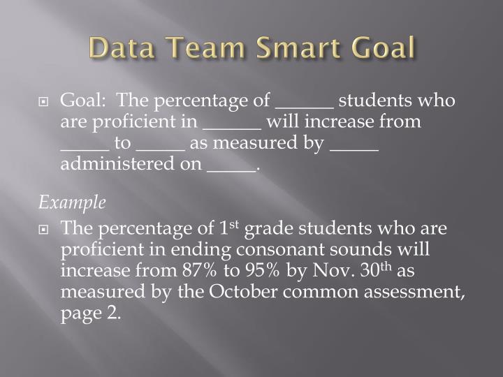 Data Team Smart Goal