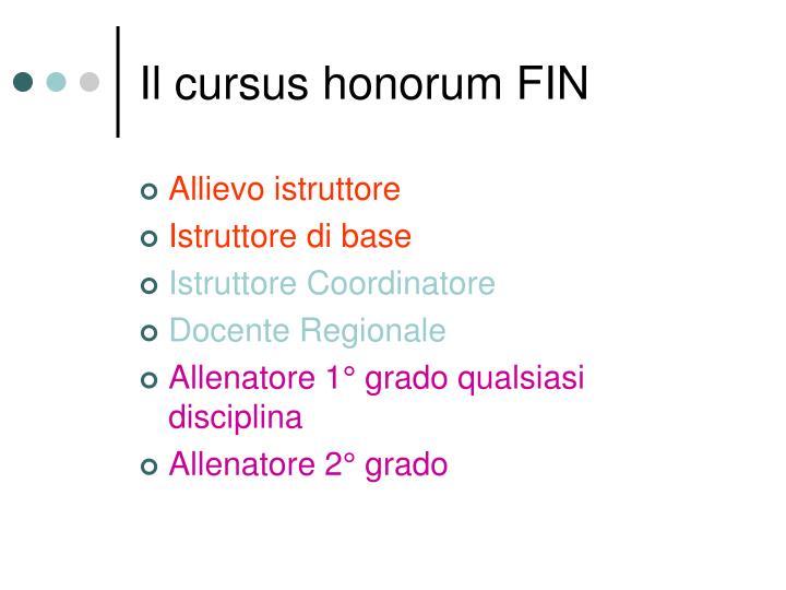 Il cursus honorum FIN