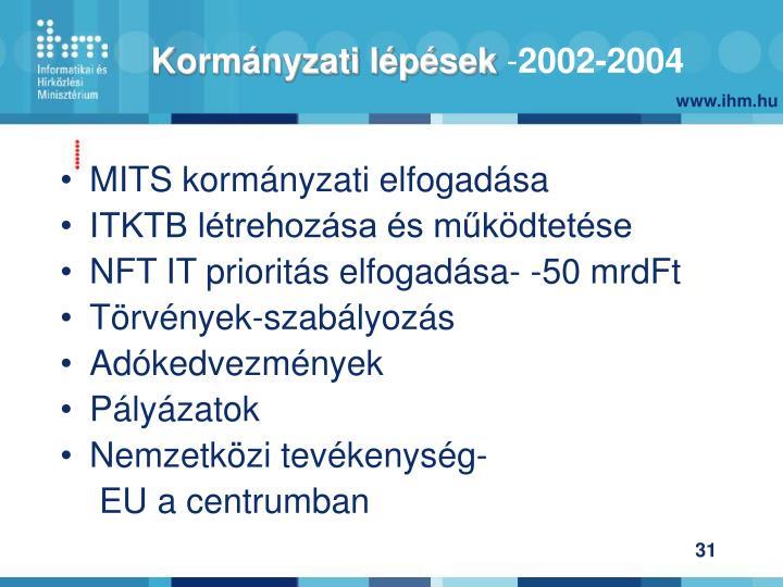 MITS kormányzati elfogadása
