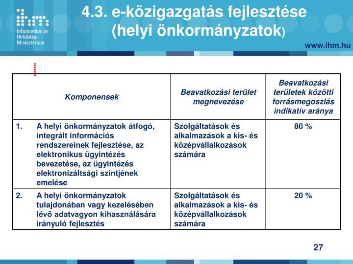 4.3. e-közigazgatás fejlesztése (helyi önkormányzatok