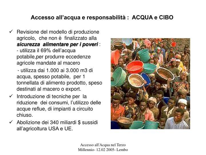 Accesso all'acqua e responsabilità :  ACQUA e CIBO
