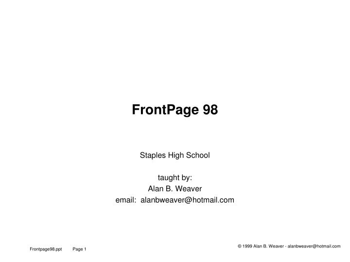 Ppt Frontpage 98 Powerpoint Presentation Free Download