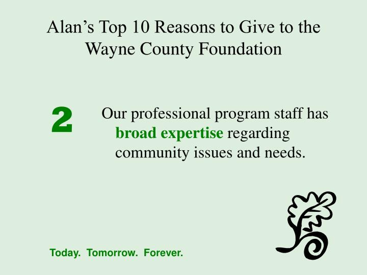 Alan s top 10 reasons to give to the wayne county foundation1