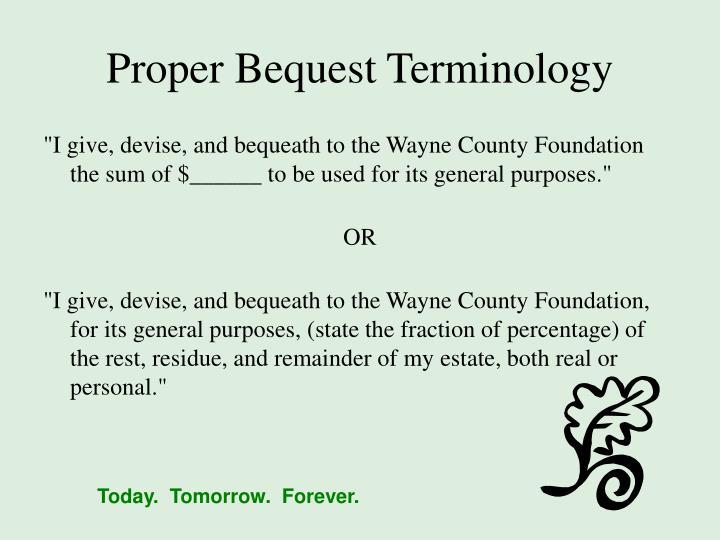 Proper Bequest Terminology