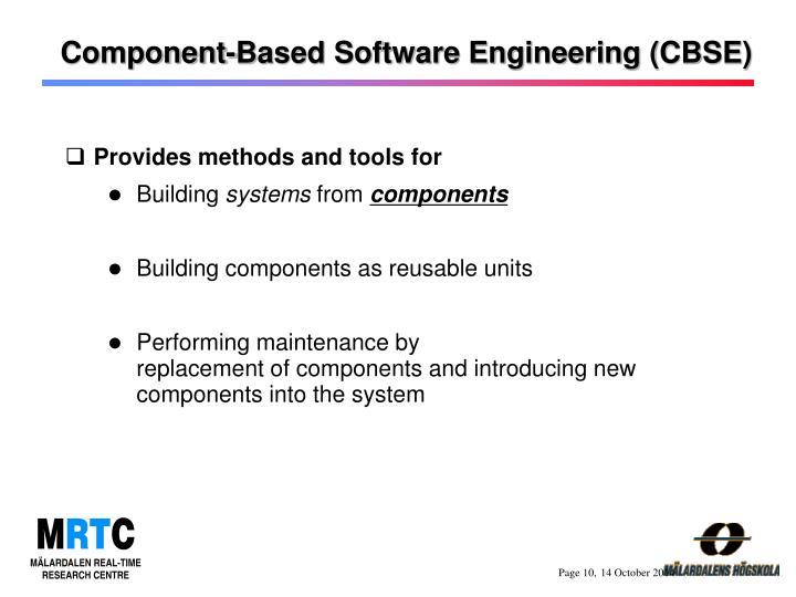 Component-Based Software Engineering (CBSE)