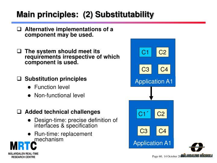 Main principles:  (2) Substitutability