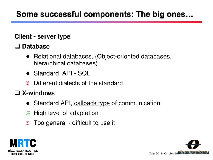 Some successful components: The big ones…