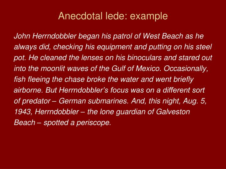 Anecdotal lede: example