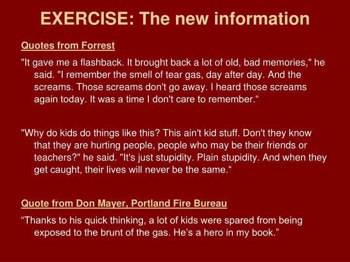 EXERCISE: The new information