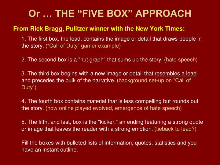 """Or … THE """"FIVE BOX"""" APPROACH"""