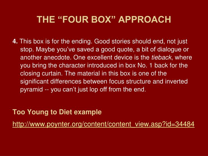 """THE """"FOUR BOX"""" APPROACH"""