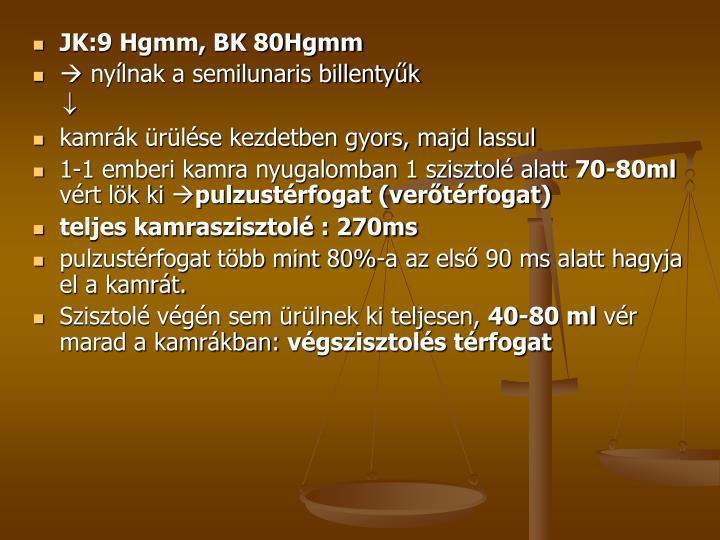 JK:9 Hgmm, BK 80Hgmm