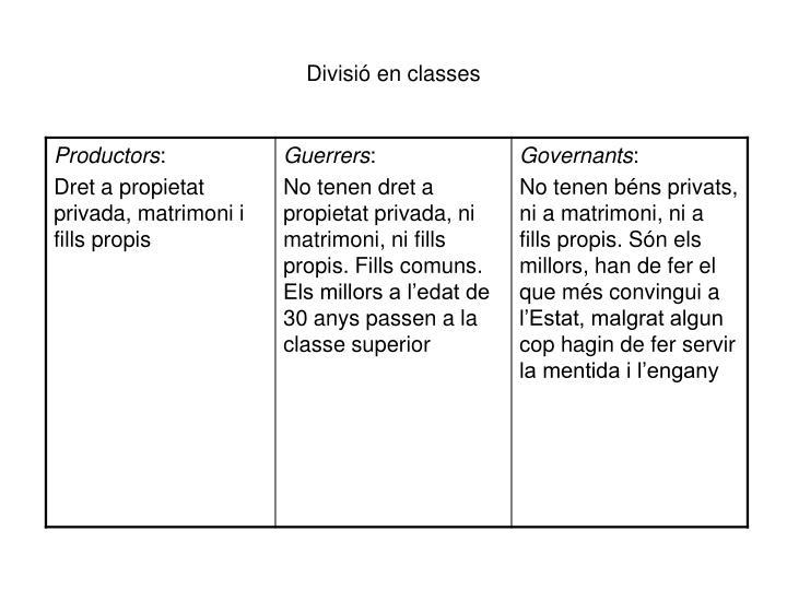 Divisió en classes