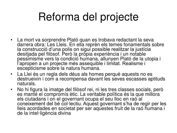 Reforma del projecte