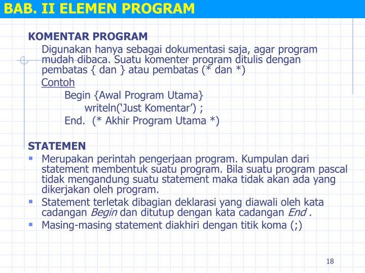 BAB. II ELEMEN PROGRAM
