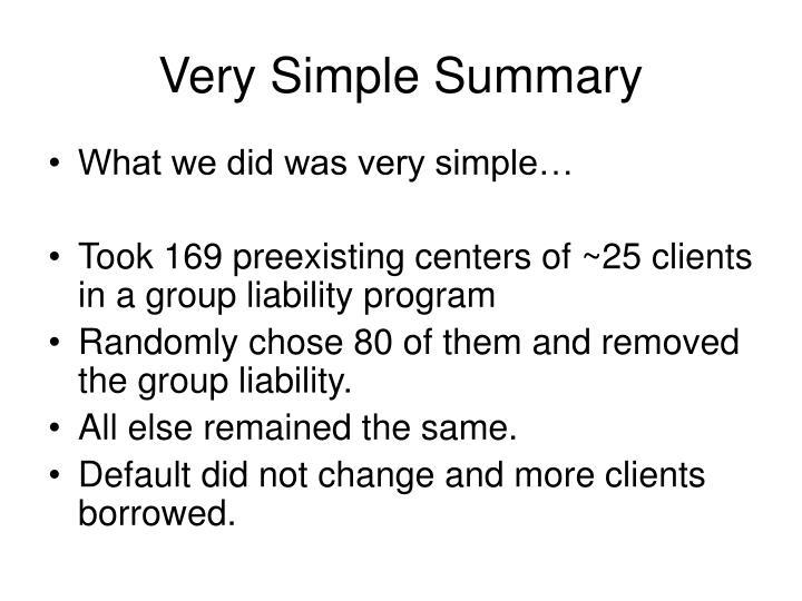 Very Simple Summary