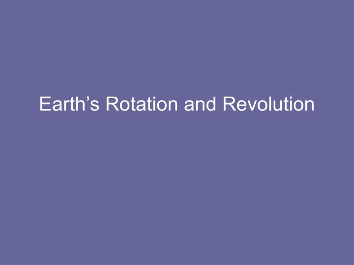 earth s rotation and revolution n.