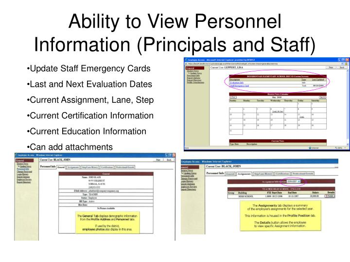 Ability to View Personnel Information (Principals and Staff)