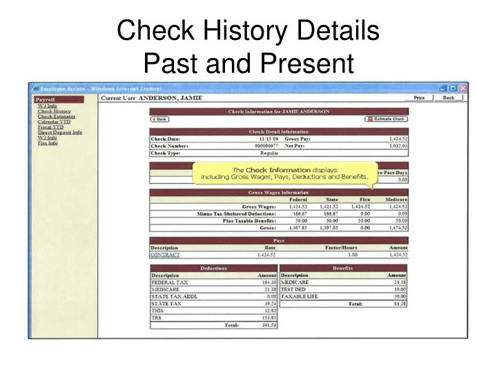 Check History Details