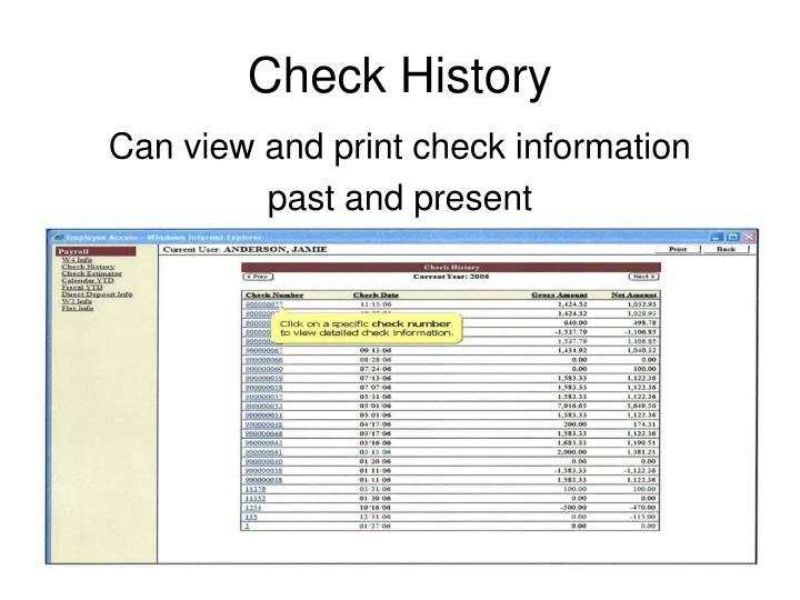 Check History