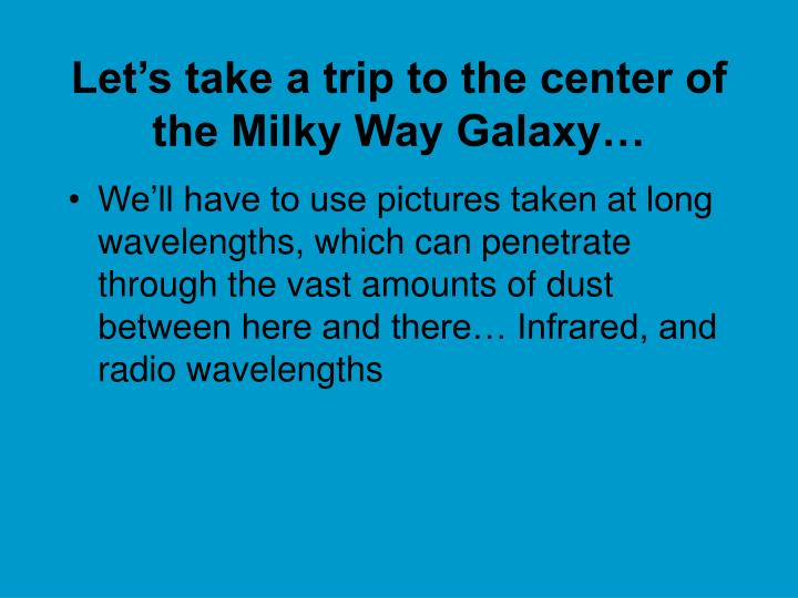 Let's take a trip to the center of the Milky Way Galaxy…