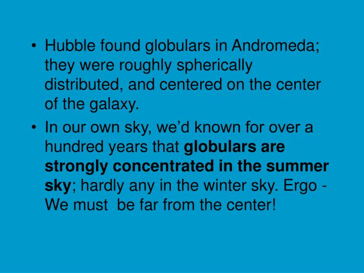 Hubble found globulars in Andromeda; they were roughly spherically distributed, and centered on the center of the galaxy.