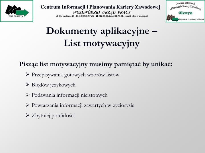 Dokumenty aplikacyjne – List motywacyjny